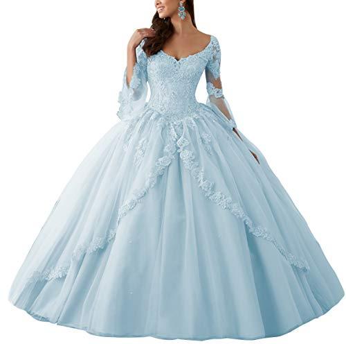 HUINI Ballkleider Lang Spitze Brautkleider Langarm Quinceanera Kleider Prinzessin V-Ausschnitt Hochzeitskleider Hellblau 56