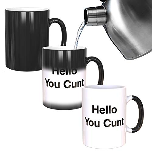 Hello You C*** Mug - Funny Rude Mug - Message Appears as it Heats - Perfect Novelty Gag Gift - Joke Secret Santa or Stocking Filler