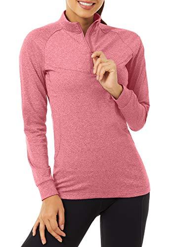 KEFITEVD Sport Langarmshirt Herren Winter Thermoshirt Langarm Sport Top Stehkragen Trainingsshirt Winddicht Warm Outdoor Funktionsshirt Wandern Fahrrad Shirt Pink S