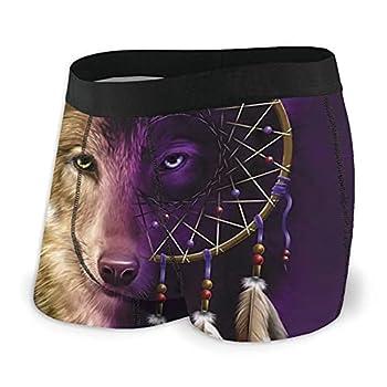 Mens Boxer Briefs Half Face Of Wolf Dreamcatcher Dream Catcher Soft Underwear Classic Trunks Underpants Xx-Large Black