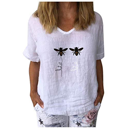 Masrin Damen Tops Lässig Kurzarm Honeybee Bedrucktes T-Shirt V-Ausschnitt Baumwolle Leinen Lose Tunika Bluse (XL,Weiß)