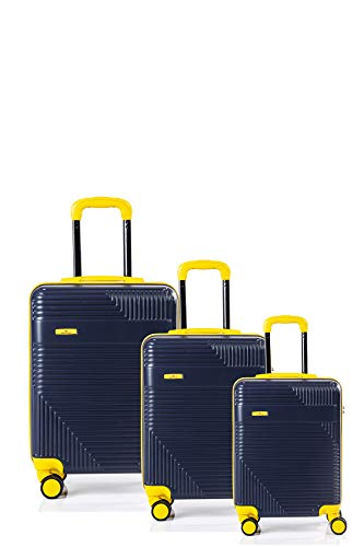 North CASE ABS 8 Wheels CCS Suitcase Luggage Trolley HARDCASE Lightweight Bag 3pcs Blue-Yellow