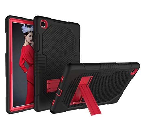 FanTing for Amazon Fire HD 8 2020 case,With bracket,all-inclusive design, three-layer ultra-thin shock-proof and durable Protective Case for Amazon Fire HD 8 2020-Black+Red
