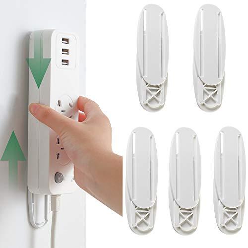 Lezed Fijador de Pared Power para Montaje Regleta de Enchufes Autoadhesiva Soporte de Montaje en Pared para Toma de Corriente para enrutador WiFi de regleta y Cajas de Toallas de Control Remoto 5 PCS