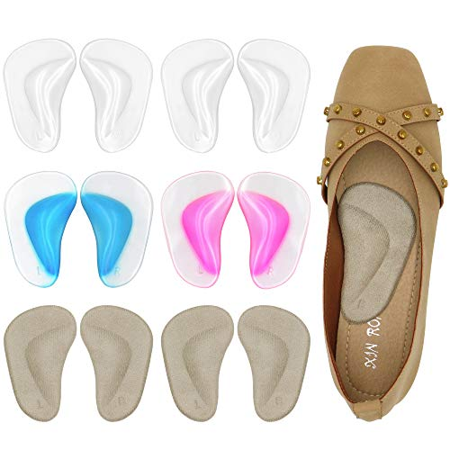 Gel Arch Support Cushions for Men & Women  Shoe Insoles for Flat Feet  Reusable Arch Inserts for Plantar Fasciitis  Adhesive Arch Pad for Relieve Pressure and Feet Pain- 6 Pairs