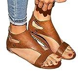 Sandalias de gladiador para mujer estilo bungalow, informales, cómodas, redondas, para playa, zapatos planos de verano, de piel, ligeras, impermeables, color marrón, 38