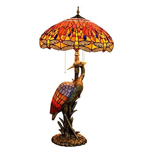 Busirsiz Mujer del estilo de Tiffany lámpara de escritorio de la grúa, los 50CM de la libélula de cristal rojo, luz de la noche Adecuado for su estilo de Tiffany cubierta Habitación Decorar lámpara de