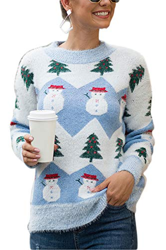 YACUN Donne Natale Snowman. Sudore Causale Lunga Sleeeve Pullover Topi Inverno Blu S