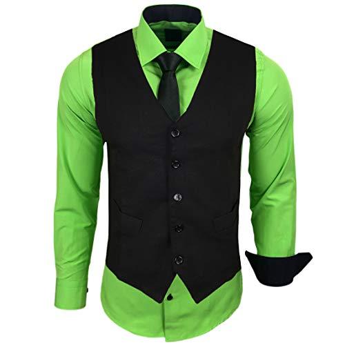 Rusty Neal Herren Hemd mit Weste Krawatte Anzugs Sakko Business Hochzeit Freizeit Hemden Set wählbar RN-44-HWK, Größe:M, Farbe:Grün