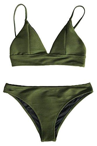 CUPSHE Entspannungsaktivitäten Solid Bikini Anzug, Armee Grün, XXL