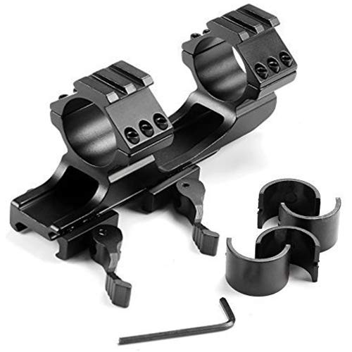 KEENZO Low Profile 1''25mm/30mm One-Piece Scope Ring Mount QD Quick Release Dual Ring Bracket Mount Rail See Through Style for 20mm Weaver Picatinny Rail