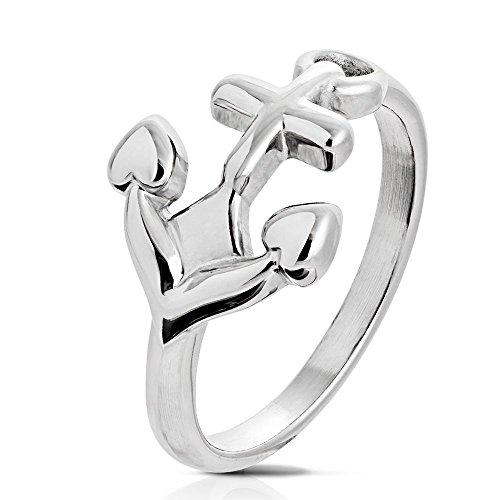 Bungsa 54 (17.2) Damen-Ring Anker Silber Edelstahl Frauen