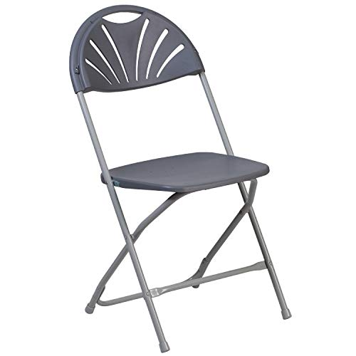 Flash Furniture HERCULES Series 650 lb. Capacity Charcoal Plastic Fan Back Folding Chair