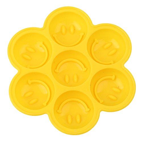 lnlyin Silikon Kuchen Form Kuchen, Pfanne Emoticon rund Pudding Seife Form Silikon Ice Cube Muster Tablett Ice Form Smile, gelb