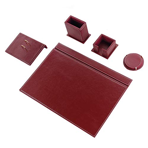 Calme-N - Juego de 5 protectores de escritorio de 49 cm x 34 cm, juego de escritorio de piel sintética en 6 colores a elegir (BURDEOS)