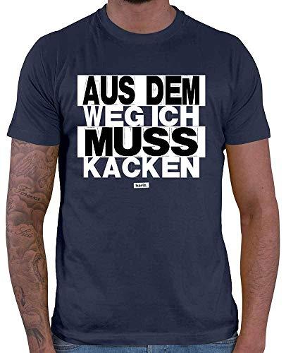 HARIZ Herren T-Shirt Aus Dem Weg Ich Muss Kacken Sprüche Schwarz Weiß Plus Geschenkkarten Navy Blau M