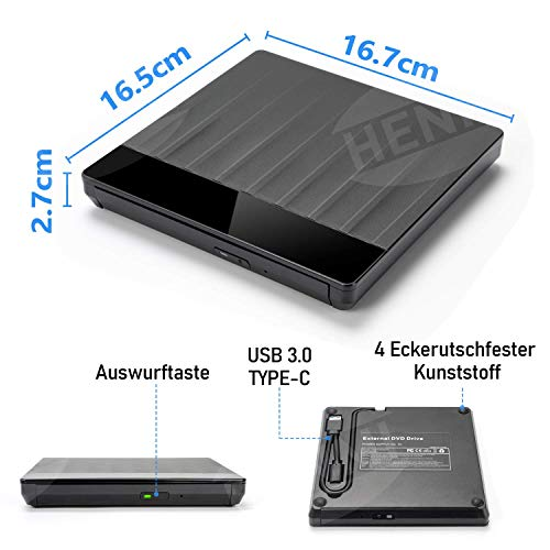 HENMI Externes CD DVD Laufwerk USB 3.0, mit Type-C Portable Slim CD/DVD-RW Brenner für Alle Laptops/Desktop,Kompatibel mit Win10/XP/Win 7/Win 8, Laptop, Mac, MacBook Air/Pro