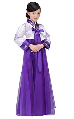 CRB Fashion Girls Traditional Kids Korean Hanbok Outfit Dress Costume (100cm, White/Purple)