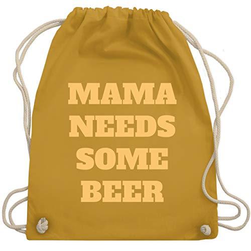 Shirtracer Muttertagsgeschenk - Mama needs some beer - gelb - Unisize - Senfgelb WM110 - Turnbeutel und Stoffbeutel aus Baumwolle