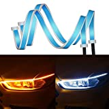 Car LED Strip Light - HALOYIVGO 2 Pcs 17.71 inch Dual Color Daytime Running Lights White - Amber Switchback Sequential Lamp Turn Signal Lights - LED Headlight Surface Strip Tube Lights