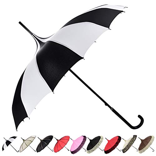 Outgeek Parasol Umbrella Sunshade Stick Umbrella Hook Handle Photo Props Black and White Striped