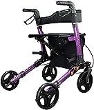 Z-SEAT Andador con Ruedas Plegable, ayudas Ligeras para Caminar para Personas Mayores, Andador con Ruedas en posición Vertical, Andador con Andador de Aluminio con Asiento