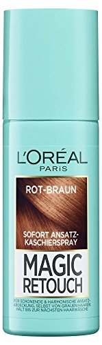 L'Oréal Paris Ansatz-Kaschierspray ohne Ammoniak, Auswaschbare Haarfarbe, Magic Retouch Ansatzspray, Rot-Braun, 1 x 75 ml