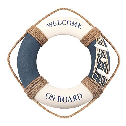 Decoración náutica del Salvavidas Boya Salvavidas Decoración para Colgar en la Pared Salvavidas Decoración para Colgar en la Pared del hogar Decoración para el hogar Tema de Playa (Azul&Blanco)