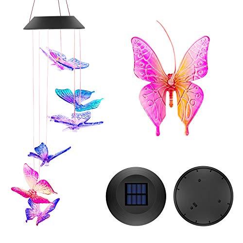 VERISA Windspiel Solarleuchten im Freien, Schmetterling Solar Windspiele LED, Farbwechsel Solar Mobile Windspiel im Freien Dekor, angetrieben buntes Licht für Gartenfest Dekoration (Schmetterling)