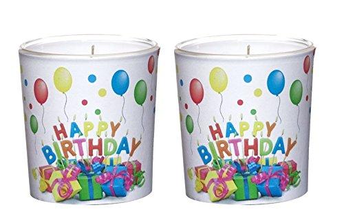 2 Kerzen im Glas mit Motiv Ø7,1cm x h7,8 cm