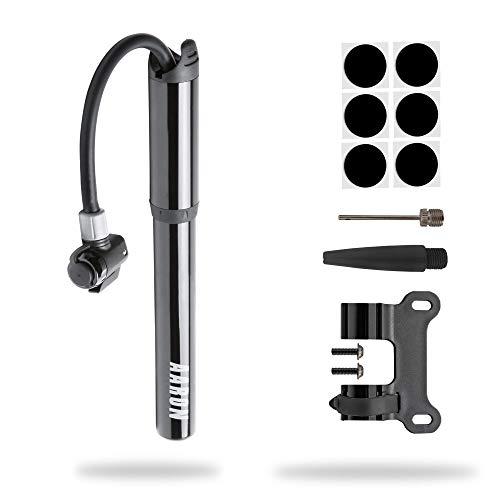 AARON Pocket One Rahmenpumpe Fahrradpumpe für alle Ventile | Kompakte Luftpumpe | Kleine, leichte und tragbare hochdruck Handpumpe 100 psi / 7 bar Minipumpe | Rad Pumpe Schwarz