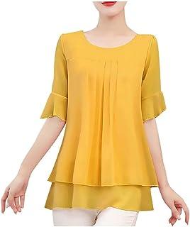 Qiufuyounsdx Women T Shirts Casual Lady Solid Color Blouse Women Top Chiffon Short Sleeve Casual Shirt Blouse Office Wear ...