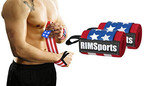 Wrist Straps - Weight Lifting Straps Powerlifters, Bodybuilders, Gym - American Flag Wrist Wraps - Premium Wrist Wraps Boxing - Recommended Wrist Straps Men & Women (American Flag, 18 Inches)
