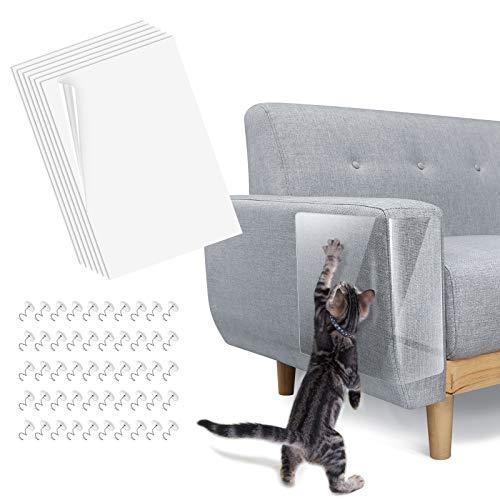 Lewondr Tappetini Tiragraffi in PVC Ultra Resistenti, 6 Pezzi con 50 Perni, Protezione Divano, Tappetino Anti Stress, Accessori Gatti, Tappetino per Protezione divani, Animali Domestici, Bianco