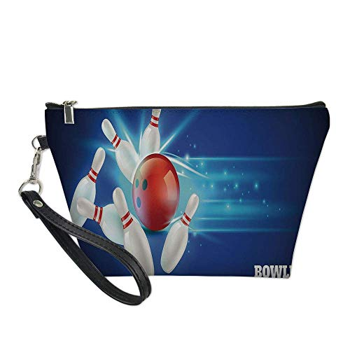 Bowling Party Decorations Useful Cosmetic Bag,Bowling Strike Red Ball and Classical Pins Vivid Composition Decorative for Travel ,21.5×14.5×6.5IN