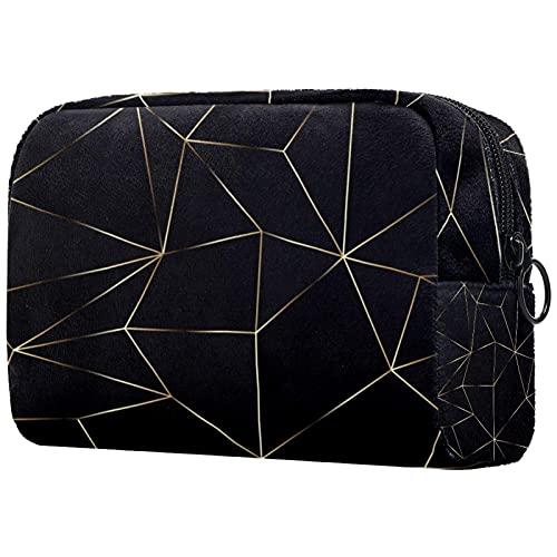 Patrón de línea en fondo negro bolsa de maquillaje, bolsa cosmética portátil, organizador de viaje para mujer, diseño ligero, Multicolor1, 18.5x7.5x13cm/7.3x3x5.1in, moderno