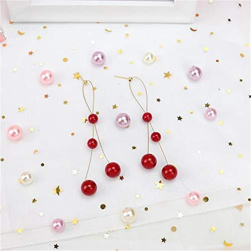 ZSDFW Pendientes de flecos femeninos de imitación de perlas de largo temperamento pendientes colgantes joyería niñas joyas regalos rojo