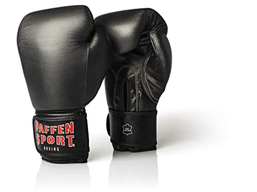 Paffen Sport KIBO Fight Echtleder-Box- und Kampfsporthandschuhe für das Sparring; schwarz; 12UZ
