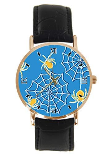 Reloj de Pulsera clásico Unisex con diseño de arañas de Halloween, analógico, de Cuarzo, de Acero Inoxidable, Correa de Cuero