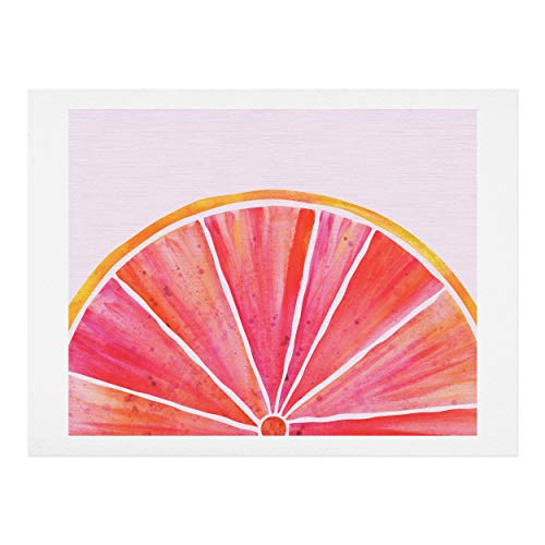 Society6 Modern Tropical Sunny Grapefruit Watercolor Art Print, 11'x14', Multi
