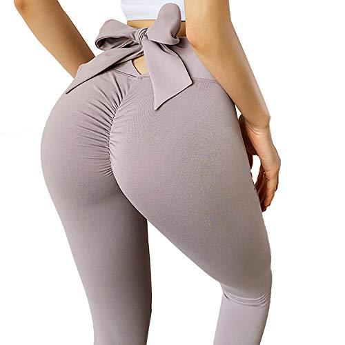 YhomeY Leggins Pantalon Yoga Mallas con Bowknot Deporte de Mujer Sin Costuras Running Fitness Bolsillo Elásticos Deportivos Push Up Comfortable para Nalgas de Los Sexy,Rosado,M