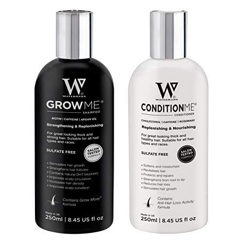 Meilleur shampoing anti chute pour pousse des cheveux et revitalisant par Watermans – Combo Pack – traitement de perte de cheveux pour les hommes et femmes