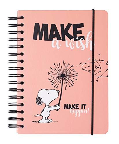 Grupo Erik CTFBA50016 - Bullet Journal puntinato Snoopy, dimensioni quaderno A5 con copertina rigida e chiusura elastica, 180 pagine con carta d'avorio di alta qualitá