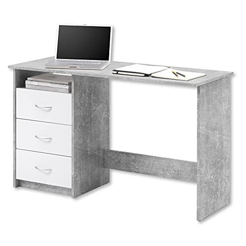 ADRIA Schreibtisch mit Schubladen in Beton Optik, Weiß - Praktischer Bürotisch Computertisch mit großer Arbeitsfläche - 120 x 76 x 50 cm (B/H/T)