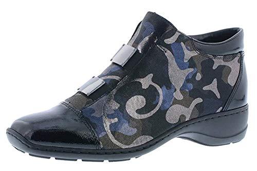 Rieker 58398-00 Damen Stiefeletten, Lack/mehrfarbig, Schwarz - Schwarz - Größe: 39 EU