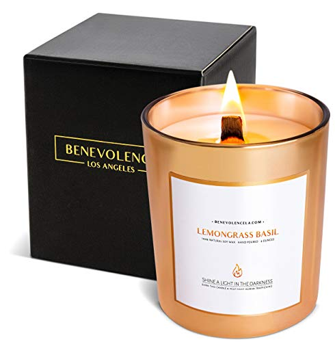 Premium Lemongrass & Basil Scented Candles, Highly Scented Lemongrass & Basil Candle, All Natural Soy Candles Scented, 227 g | 45 Hour Long Lasting Soy Candle, Relaxing Aromatherapy Candles