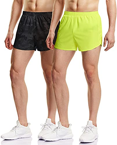 ATHLIO Men's Running Shorts, 3 Inch Quick Dry Mesh Athletic Shorts, Gym Training Workout Shorts with Pockets, 2pack(cbh23) - Camo Black/Neon Yellow, Medium