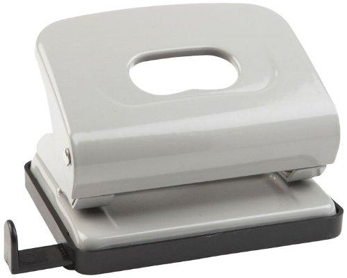 Idena 300903 - Locher, mit Anschlagschiene, Lochung bis ca. 16 Blatt, Lochstanzung Durchmesser 5,5 mm, aus Metall, grau