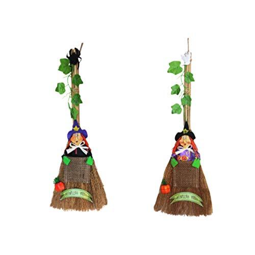 EXCEART 2 Pcs Vassoura de Bruxa Com Videira Assistente de Madeira Realista Vassoura Voadora Kid Toy Cosplay Vampire Party Costumes Foto Prop para Masquerade Halloween