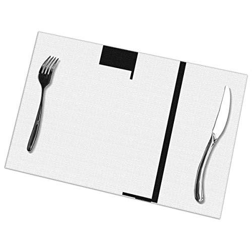 Set of 6 Non-Slip,Washable Place mats,Bauhaus,PVC,Tear-Resistant,Heat-Resistant Place Mats,Dirt-Repellent and Washable,Place Mats for Kitchen,Dining Table